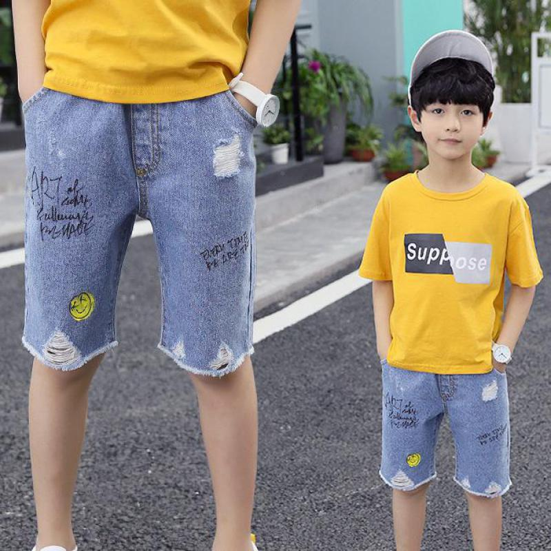 Girls All Match Pants Children Clothes Spring Baby Boys Jeans Kids Broken Hole Ripped Cool Washing Denim Pants Toddler New Short