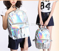 2 pieces Hologram Fluorescence Laser PU Backpack Jelly Design travel school bag 4 colors 28*40*13 cm