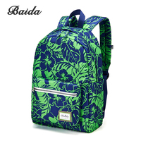 BAIDA Fashion Green Floral Print Backpack Flower Pattern Women Cool Daypack Teenage School Bags For Youth