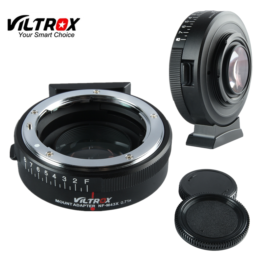 Viltrox NF-M43X Focal Reducer Speed Booster Adapter Turbo w/ Aperture for Nikon Lens to M4/3 camera GH4 GH5GK GH85GK GF7GK GX7 viltrox nf e camera lenses electronic aperture control lens adapter for nikon f to sony a7 r s m2