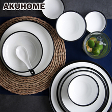 Simple European Style Ceramic Bowl Thick Black Stripe China Bone Deep Plate Porcelain Dinnerware