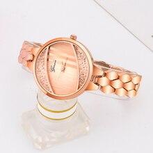 Ginave Diamond Fashion Bangle Womens Bracelet Watch Set Ladies Smooth Mirror Quartz Casual luxury Wristwatches