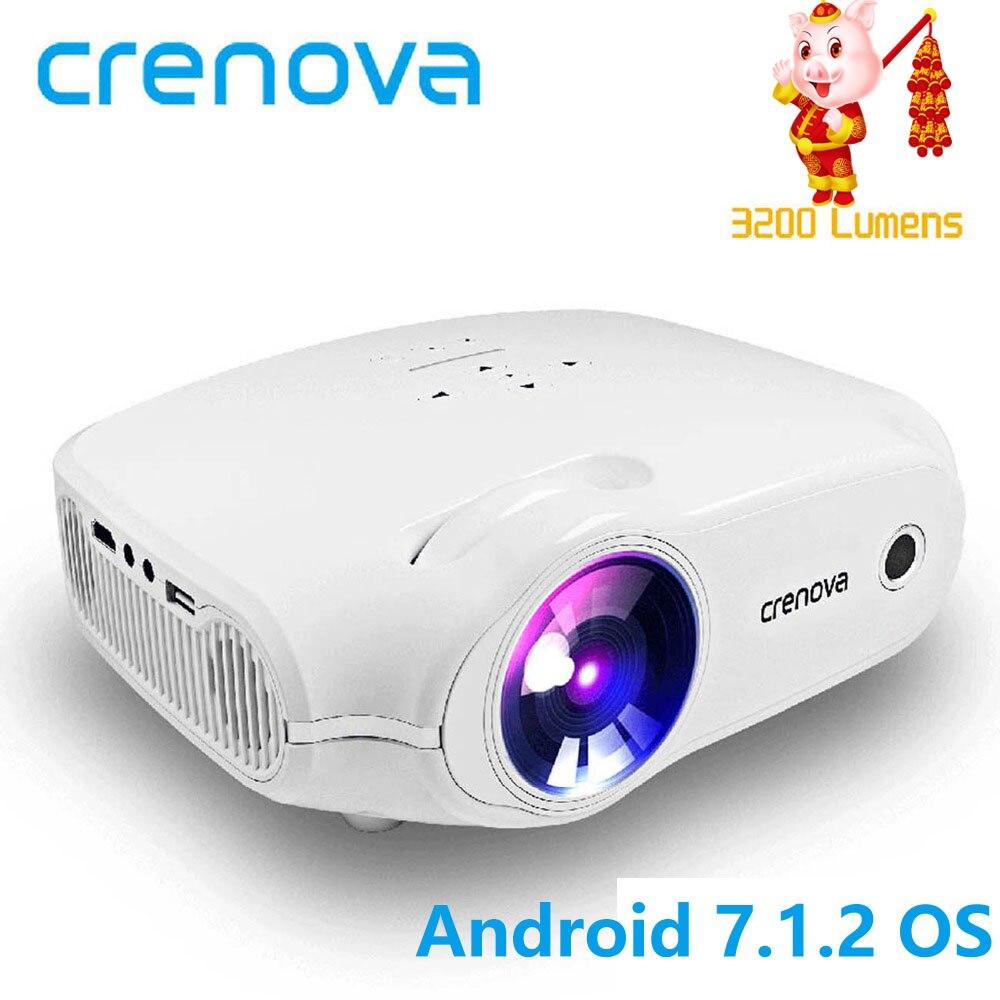 CRENOVA Date projecteur led Pour Full HD 4 K * 2 K vidéo projecteur Android 7.1.2 OS Home Cinéma Film Beamer Proyector