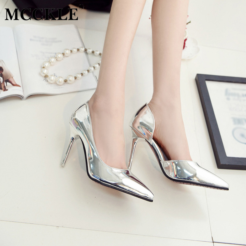 MCCKLE 2017 Fashion Women Shoes High Heels Woman Pointed Toe Patent Leather Ladies Sexy Party Pumps Casual Comfortable Black new listing pointed toe women flats high quality soft leather ladies fashion fashionable comfortable bowknot flat shoes woman
