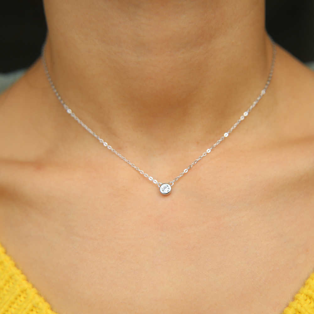 classic simple design jewelry minimal chain 4mm tiny bezel cubic zirconia teen girl adorable stunning single cz silver necklace