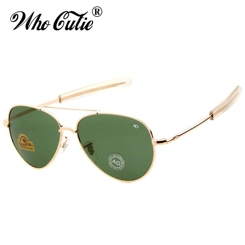 WHO CUTIE 2018 Military AO American Optical Sunglasses Men Brand Design Army pilot Sunglasses 90s James Bond Male Sun Glasses