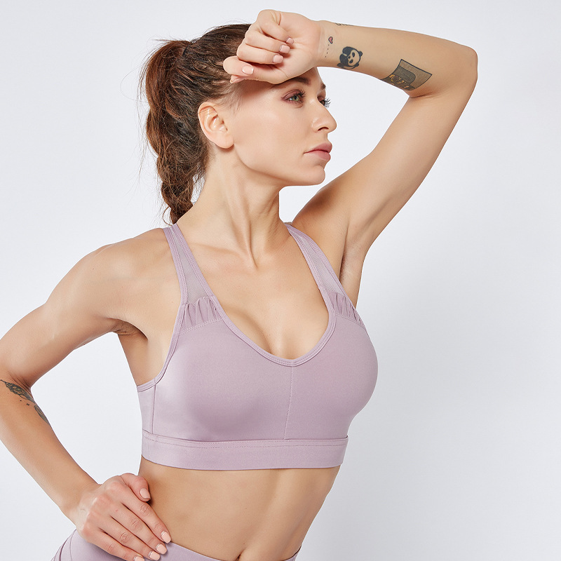 Sports Bra New Yoga Fitness Clothing Anti Bacterial Women 39 s New Shock proof Gathered Vest Sport Bra Push Up Breathable Quick Dry in Sports Bras from Sports amp Entertainment