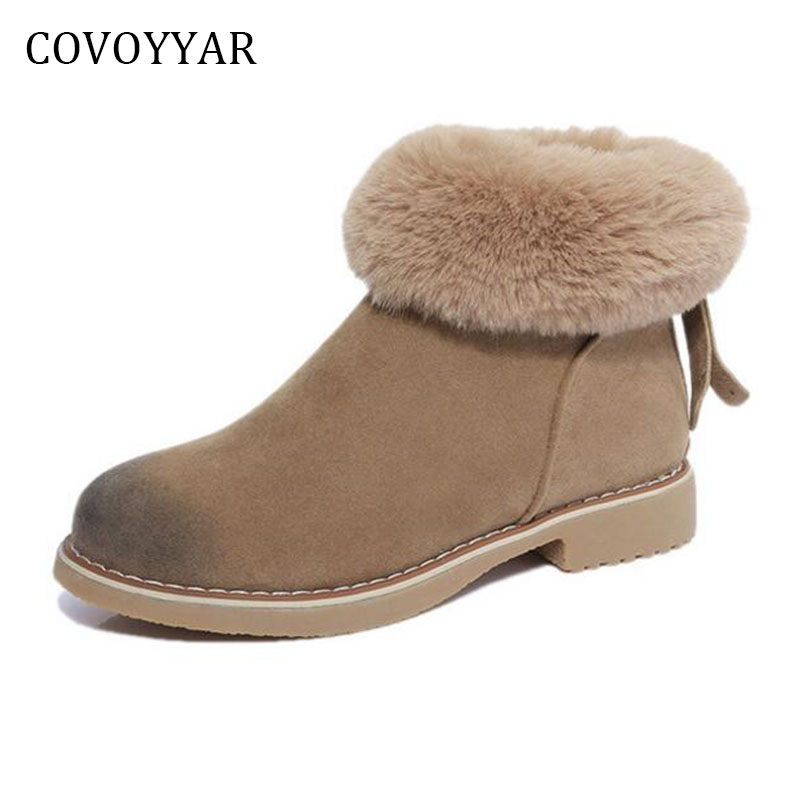 COVOYYAR 2018 Warm Fur Snow Boots Women Winter Comfort Back Zip Studded Ankle Boots Flock Women Shoes WBS684