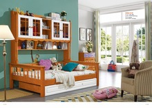 JLMF605 Ash wood children bedroom furniture all solid wood children bed with storage cabinet drawers pulling bed