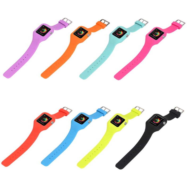 Silicone Watchband With Protective Case Cover For Apple Watch 3 2 1 38mm 42mm series 1 2 3 soft silicone case for apple watch cover 38mm 42mm fashion plated tpu protective cover for iwatch