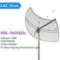 868 MHz antena parabólica rejilla remoto receptor de señal 806 ~ 960 MHz GSM Repetidor Amplificador de Señal de refuerzo