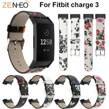 Printing Leather Wristband For Fitbit Charge 3 Smart Accessories Watches Straps Replacement Bracelet Band