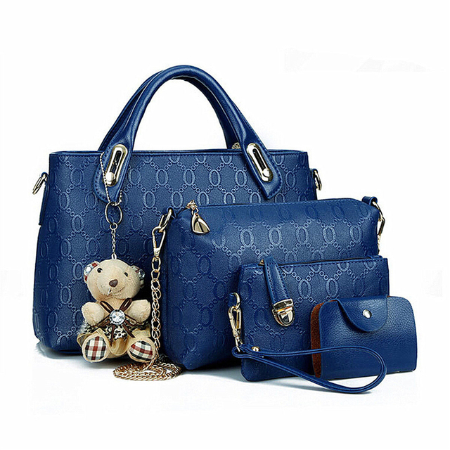 2017 Women Lady 4PCS/Set Leather Shoulder Bag Handbag New Design Fashion Tote Satchel Clutch Coin Purse Top Quality Free N578