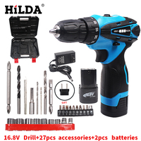 HILDA 12V 16.8V Electric Drill 2 Speed Rechargeable Lithium Battery Waterproof Hand with Accessories Cordless Screwdriver
