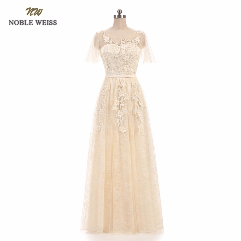 NOBLE WEISS Champagne Prom Dress High Quality Customized Fashion O Neck A Line Floor Length Appliques