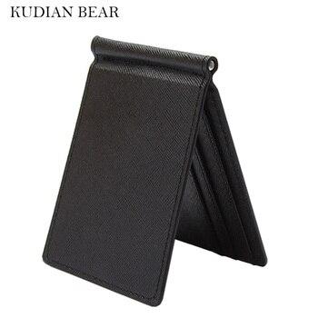 KUDIAN BEAR Slim Men Money Clip Wallet Mental Solid Male Purses Designer I Clip Cash Holder Card Cases-- BID213 PM49