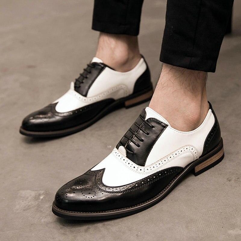 efb23944217ffd Up marron Noir Oxfords Luxe Cuir Mariage 2019 Nouveau Chaussures Dentelle  Hommes De Lk Richelieu Parti En Patchwork Italien Formelle Robe ...