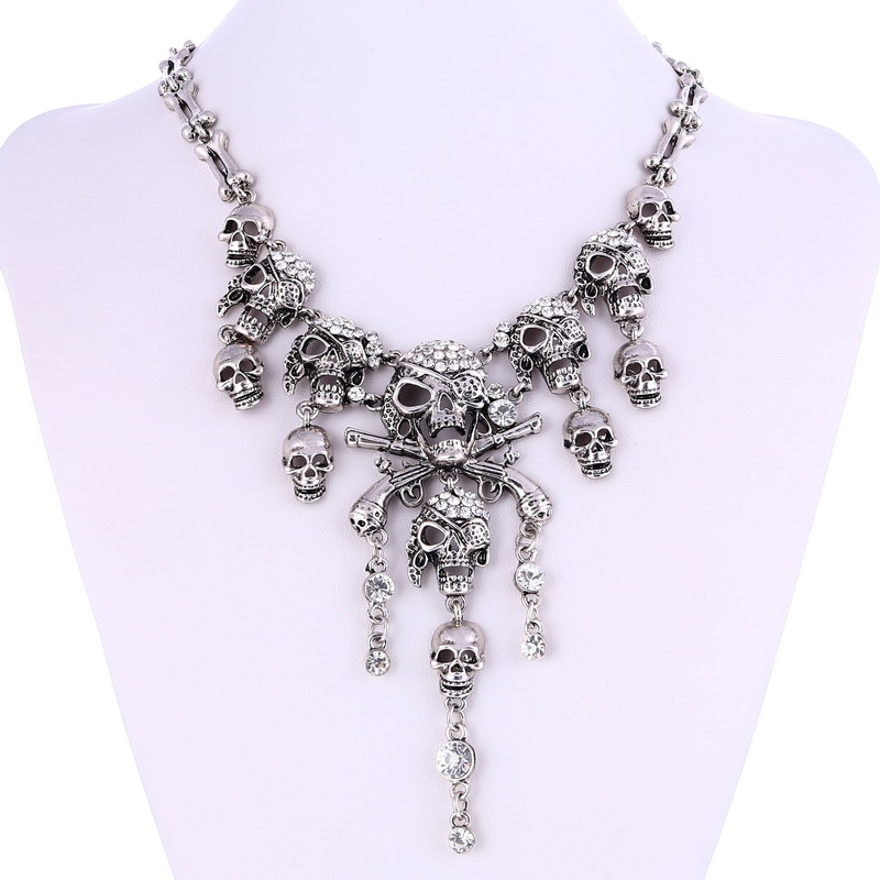 LOVBEAFAS 2019 Fashion Classic Maxi Statement Vintage Pirate Skeleton Skull Necklaces & Pendants Retro Rhinestone Punk necklace