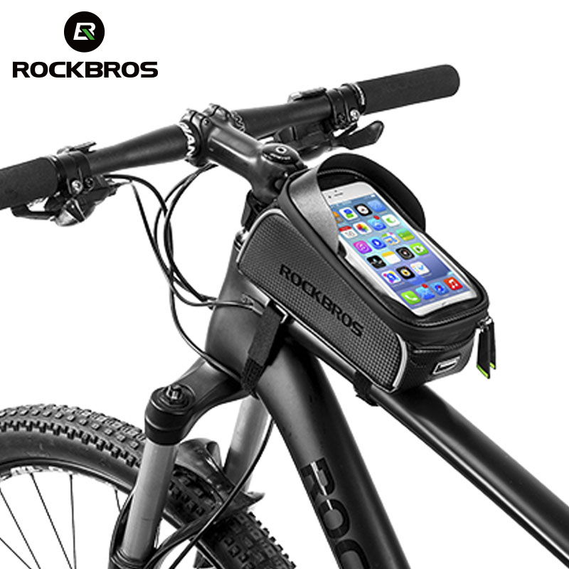 ROCKBROS MTB Bike Bag 6″ Touchscreen Bicycle Frame Saddle Bag Cycling Top Waterproof Tube Bag Phone Case Bike Accessories