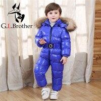 30 градусов детские комбинезоны натуральный мех енота детские зимние комбинезоны Зимняя одежда белая утка вниз для маленьких мальчиков дев