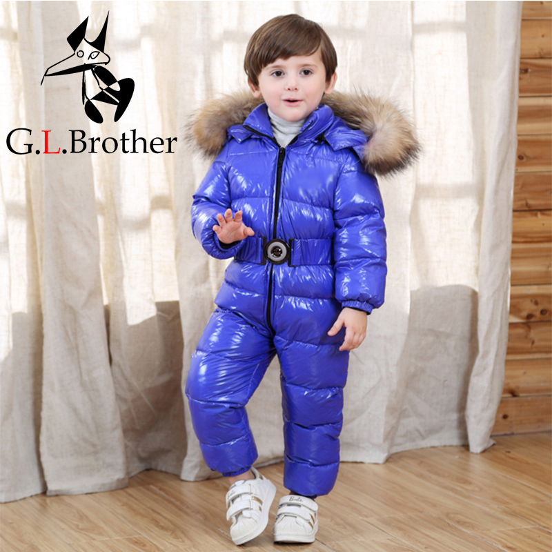 30 Degree Kids Snowsuits Natural Raccoon Fur Baby Winter Rompers Snow Wear White Duck Down Toddler Boys Girls Skiing Jumpsuit