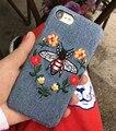 Роскошные ковбой Вышивка Цветок Змея Пчелы Бабочки Тигр Кожи жесткий Г. Г. phone Case For apple iPhone 6 6 S 7 Плюс обложка case