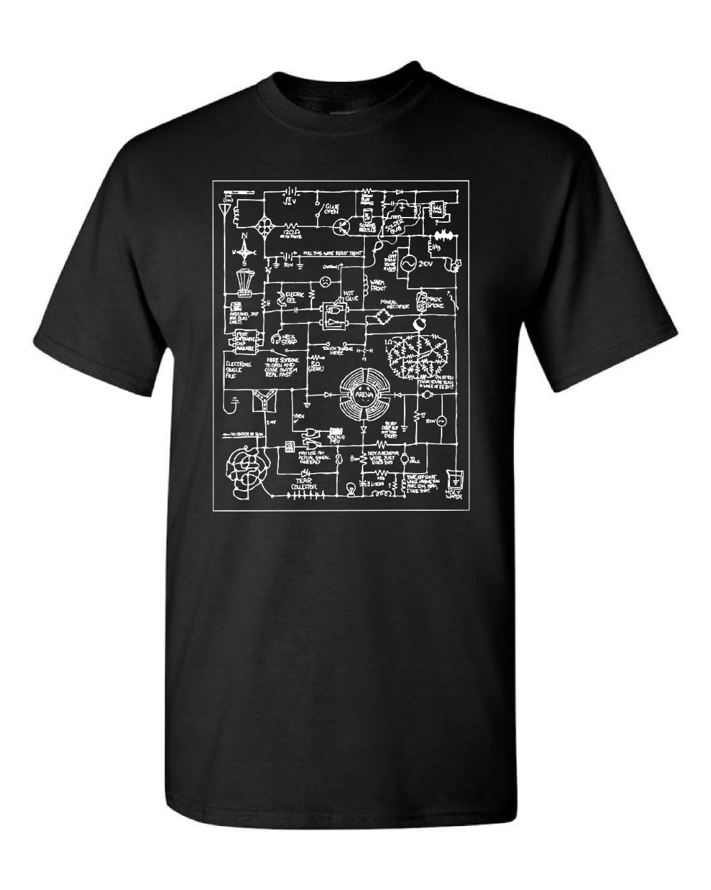 New Fashion T Shirt Graphic Letter T-shirt EE Electrical Engineering Electronics Wacky Schematic Men's Black Funny O Neck