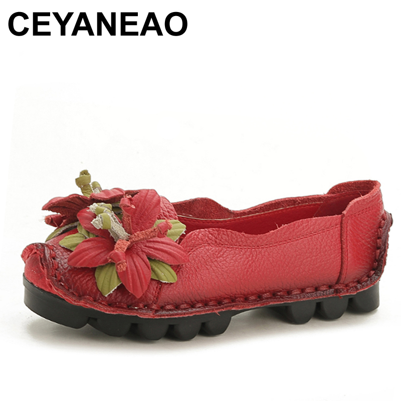 CEYANEAO New Summer Women cutouts Genuine Leather Shoes Comfortable Buckle Flats Nurse Casual Handmade ballet flatsC043