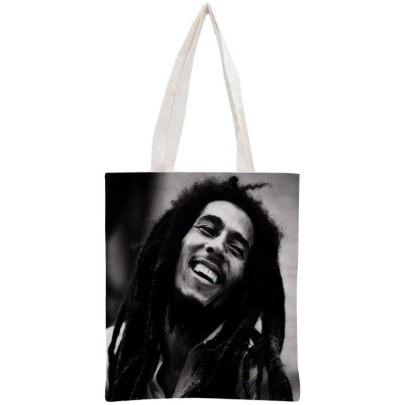 Custom Bob Marley Tote Bag Reusable Handbag Shopping Bags Two Sides Women Shoulder Cloth Pouch Foldable Cotton Canvas tote bag