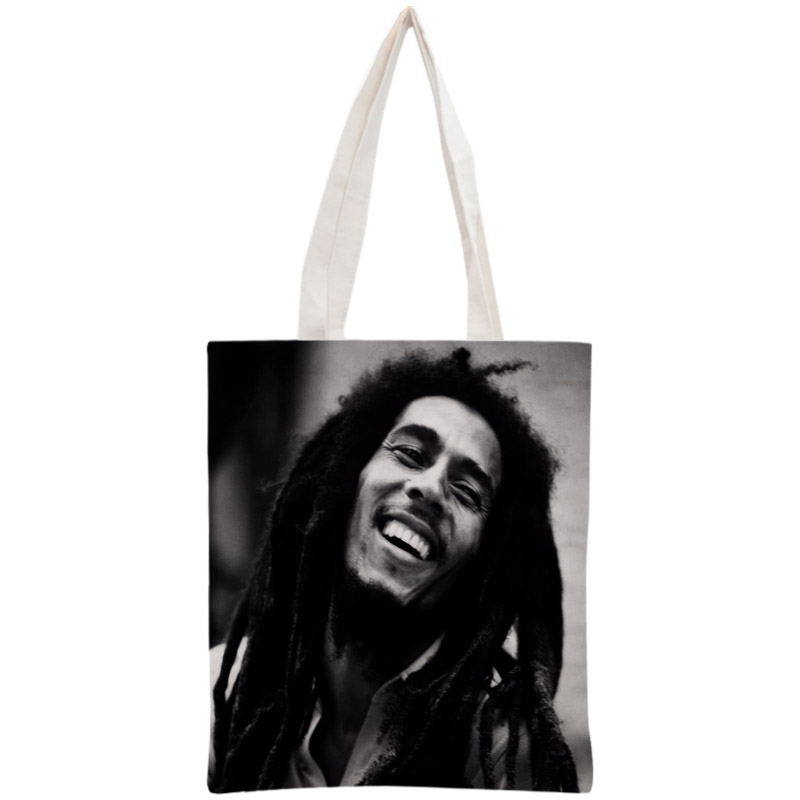 Custom Bob Marley Tote Bag Reusable Handbag Shopping Bags Two Sides Women Shoulder Cloth Pouch Foldable Cotton Canvas