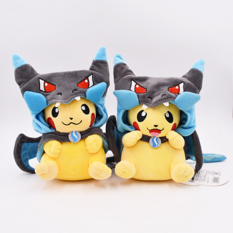 2Styles 22cm Kawaii Pikachu Charizard Cosplay Cartoon Plush Toy Peluche Stuffed Doll Gift For Children Free Shipping