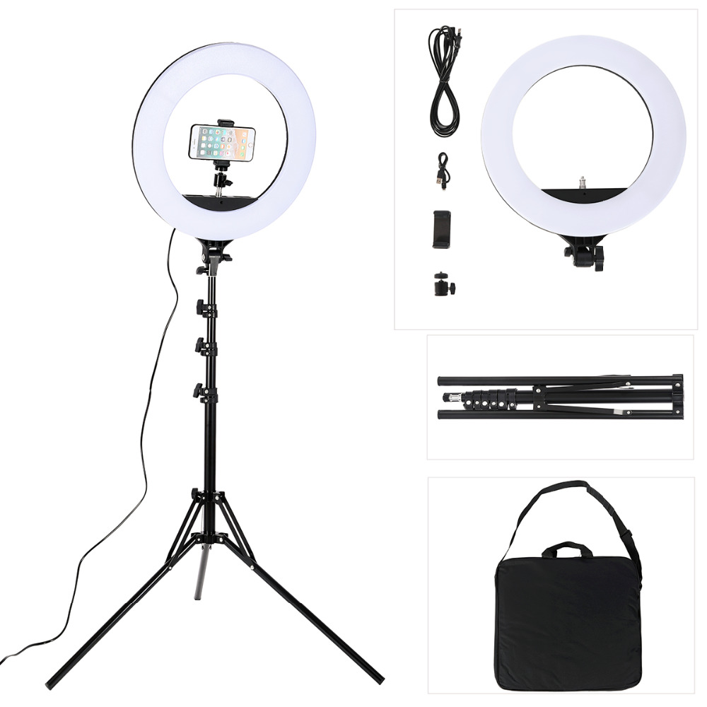 18 Inch Photo Studio Lighting LED Ring Light 480PCS Bulbs 3200-5600k Photography Dimmable Ring Lamp With Tripod For Video,Makeup