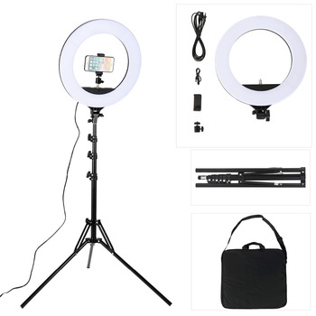 18 Inch Photo Studio lighting LED Ring Light 480PCS Bulbs 3200-5600k Photography Dimmable Ring Lamp With Tripod for Video,Makeup Photographic Lighting