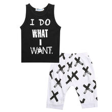 Tops Vest Tee Children Kids Boy T-Shirts Shorts Letter Black 2pcs Lovely Toddler Baby Boys Clothes Sets Cotton Outfits Clothing