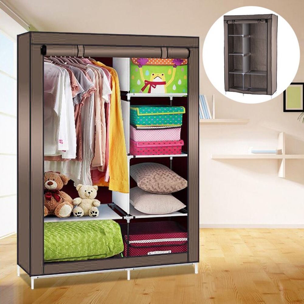 Ship From RU Modern Simple Wardrobe DIY Nonwoven fold Portable Storage Cabinet Fabric Folding Cloth Ward Storage with retail Box wardrobe extra large eco friendly cartoon hanging clothes cabinet wardrobe storage box wire combined type child simple