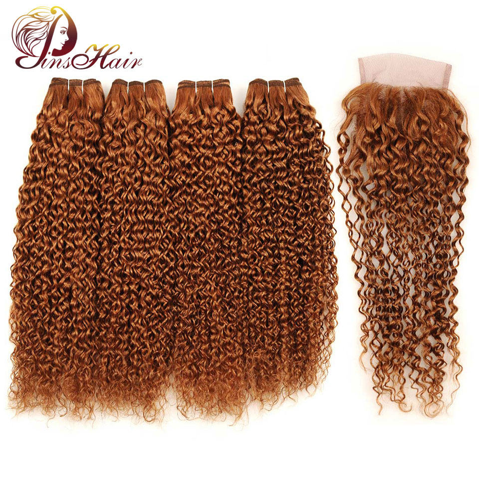Pinshair Brazilian Kinky Curly Hair Bundles With Closure Blonde #30 5 Pcs Human Hair Weave Bundles With Closure 26 Inch Non Remy