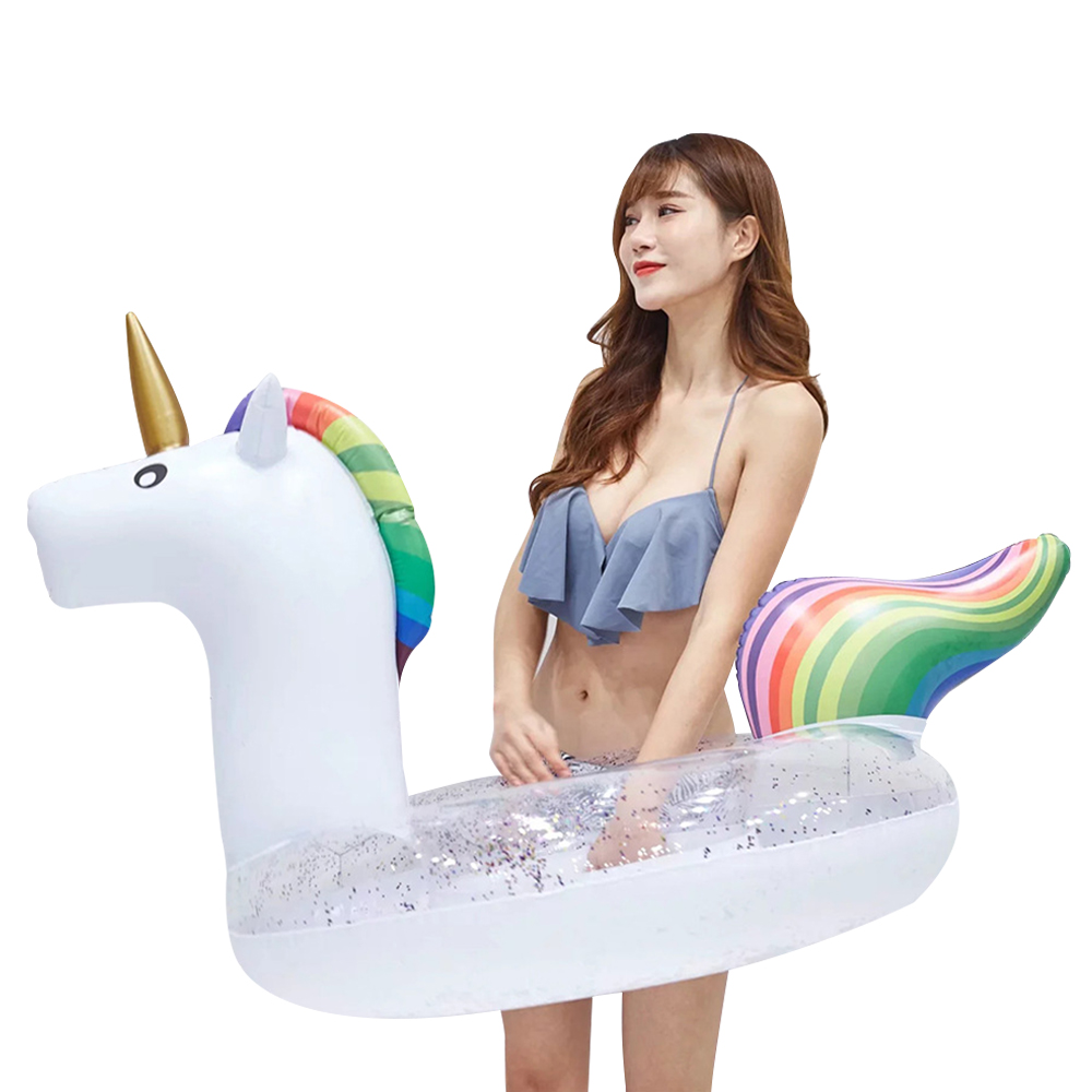Giant Inflatable Unicorn Loose Sequins Pool Floats 45'' Tube Swimming Ring Circle Water Mattress Bed For Adults Party Toys Boia