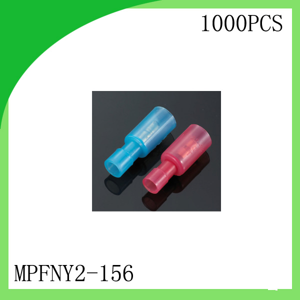 Brass 1000 PCS MPFNY2-156  Female Red/Blue cold-pressed terminal Connectors and Splices For 0.3-2.5mm2,24-14 AWG