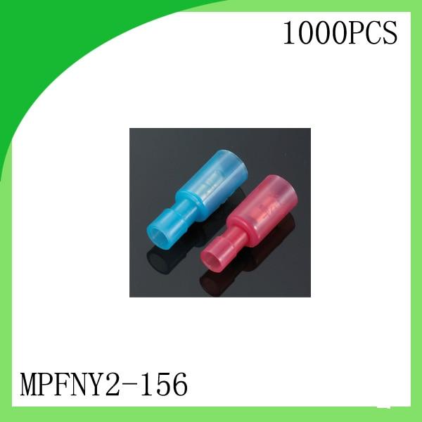 Laiton 1000 PCS MPFNY2-156 Femelle Rouge/Bleu pressée à froid terminal Connecteurs et Épissures Pour 0.3 2.5mm2, 24-14 AWG