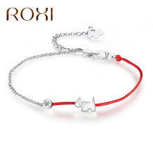 ROXI Crystal Charm Bracelets for Women Thin Red Thread String Rope Fashion Lovely Dog Bracelet Bangles K Letter Jewelry bileklik(China)