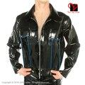 Negro cremallera frontal de manga larga abrigo atractivo del látex fetish bondage uniforme biker clothing ropa superior túnica chaqueta más el tamaño de goma