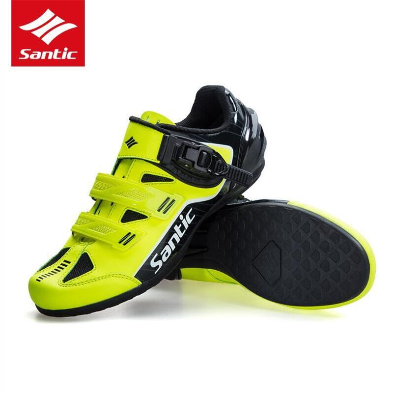 Santic High Quality Men Cycling Shoes Breathable Outdoor Professional Road Bicycle Shoes Non Slip No Lock Bike Shoes