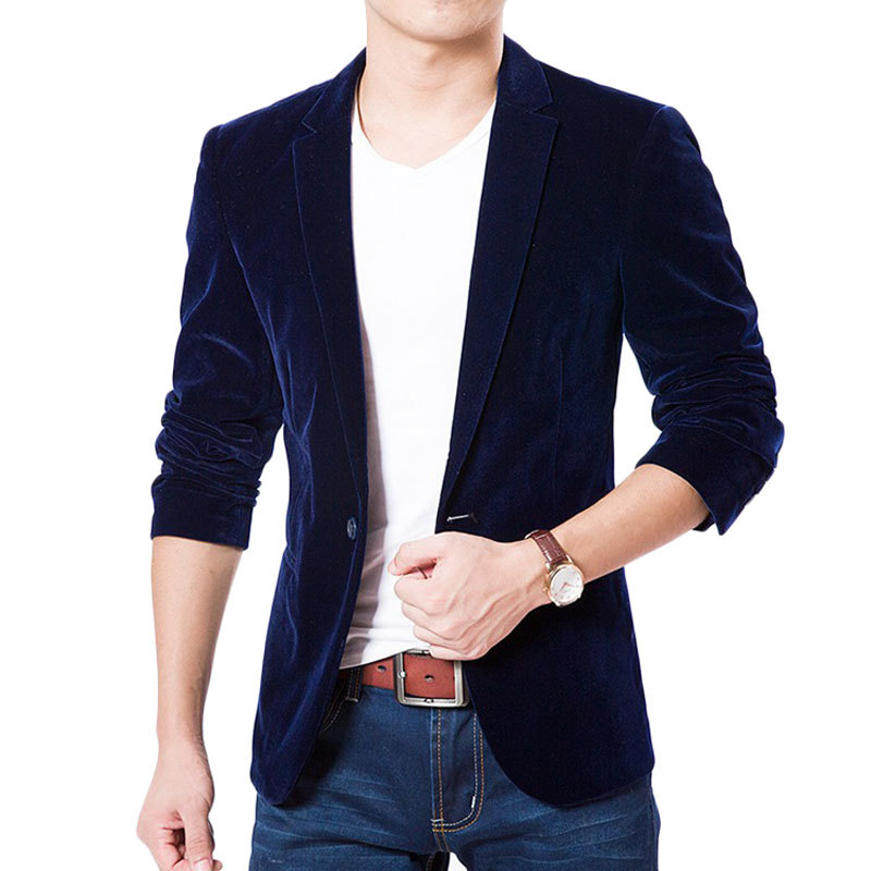 Aliexpress.com : Buy 2017 New Arrival Royal Blue Velvet Blazer Men ...