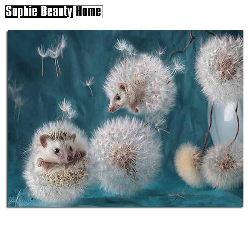 Special Shaped Diamond Painting Hedgehog Dandelion Handicraft Needlework 5D Mosaic DIY Diamond Embroidery Home Decor 052401