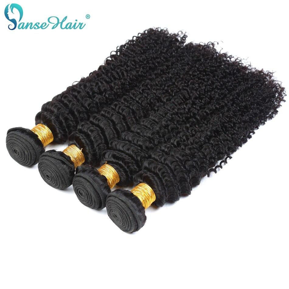 Panse Hair Products 100% Indian Deep Curly Human Hair Bundles 4 pcs Per Lot Human Hair Weaving 100g Non Remy