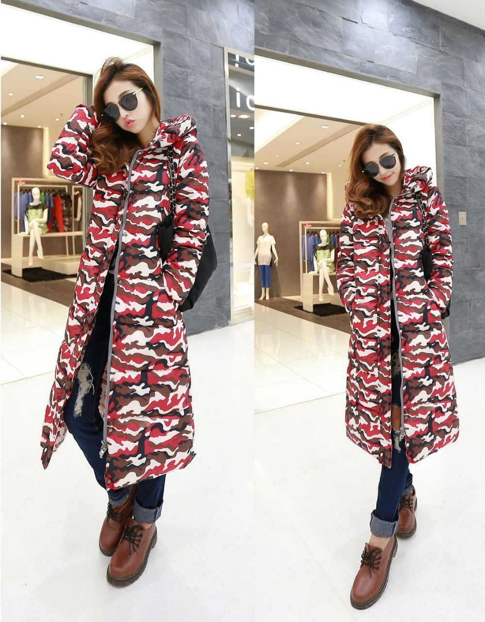 Long Women's Winter Jacket Fashion Thick Wadded Jackets Female Camouflage Coat Slim Outerwear Hooded Parka Plus Size Coat C882 цены онлайн