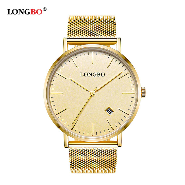 LONGBO Brand Luxury Lovers Couple Watches Men Date Day Waterproof Women Gold Stainless Steel Quartz Wristwatch Montre Homme