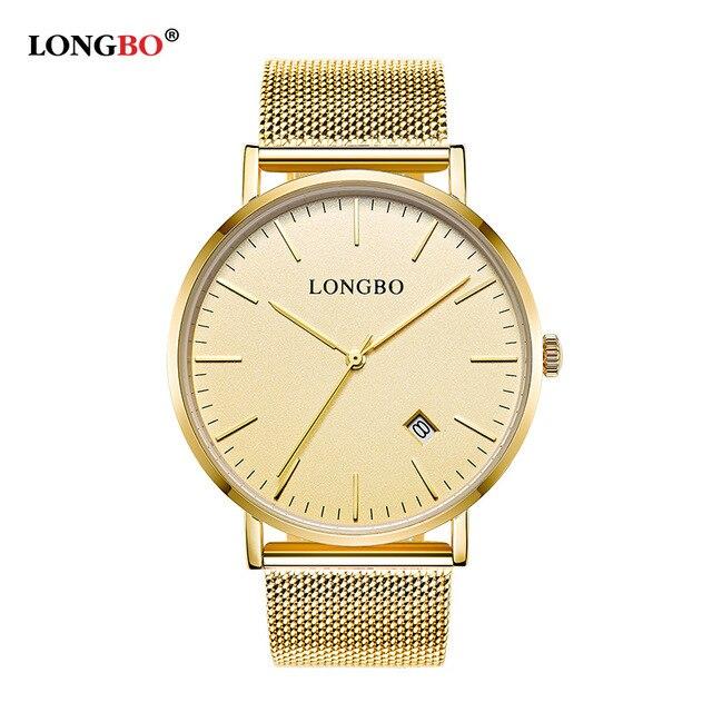 LONGBO Brand Luxury Lovers Couple Watches Men Date Day Waterproof Women Gold Sta