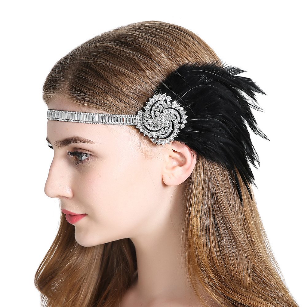1920s Vintage Flapper Feather Headpiece Great Gatsby Headband Women Fancy Dress Fascinator Hair Accessory for Party Prom headpiece