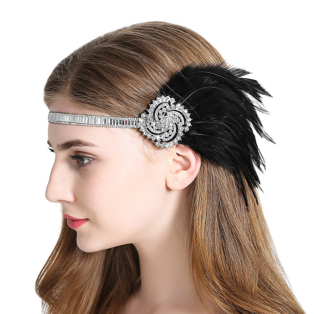 1920s Vintage Fler Feather Headpiece Great Gatsby Headband Women Fancy Dress Fascinator Hair Accessory For Party